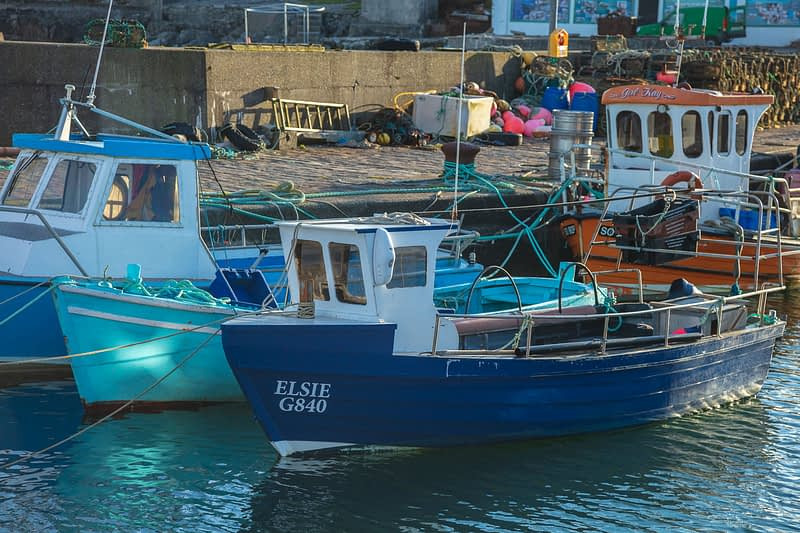 Fishing Boats moored at Purteen Harbour, Achill Island, County Mayo, Ireland.