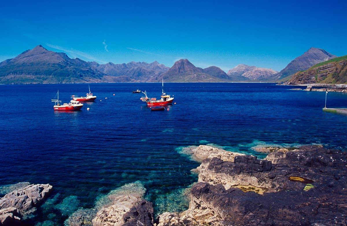Elgol harbour and the Black Cuillin, Isle of Skye, Scotland.