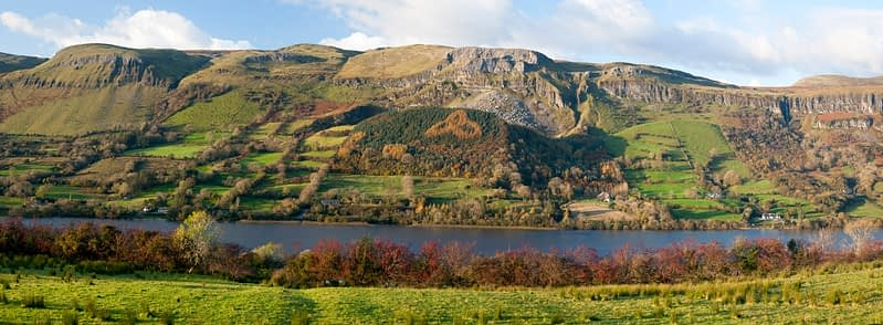 Autumn colours on the shore of Glencar Lough, Co Sligo, Ireland.