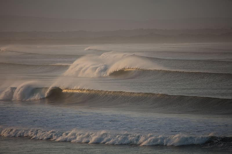 Evening waves breaking across Killala Bay, Enniscrone, County Sligo, Ireland.