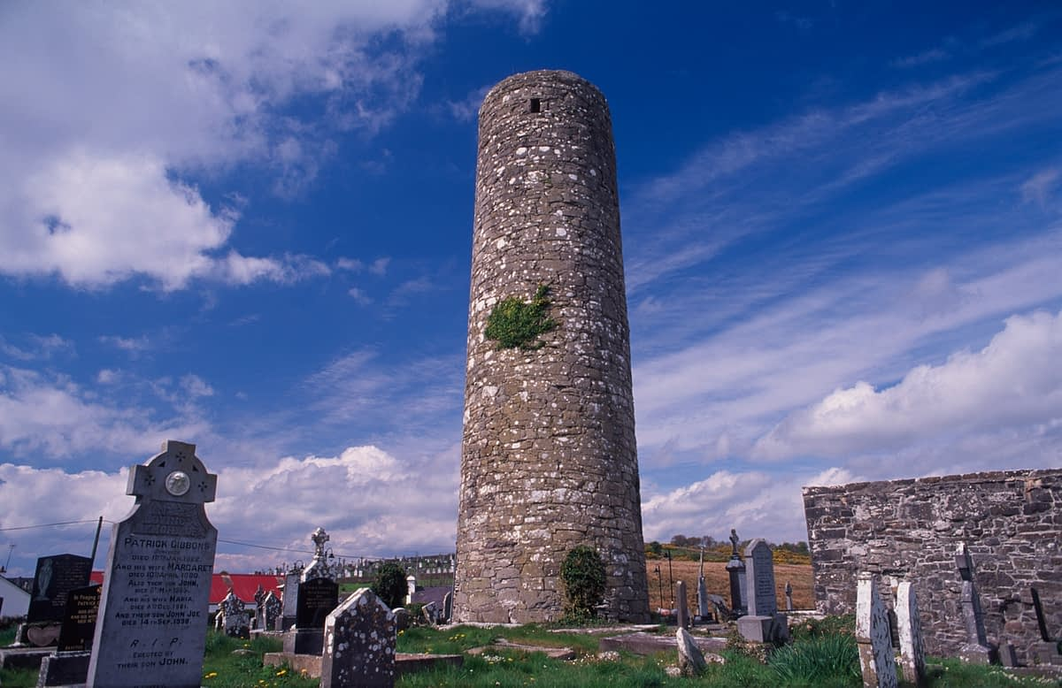 10th century round tower, Aughagower, County Mayo, Ireland.