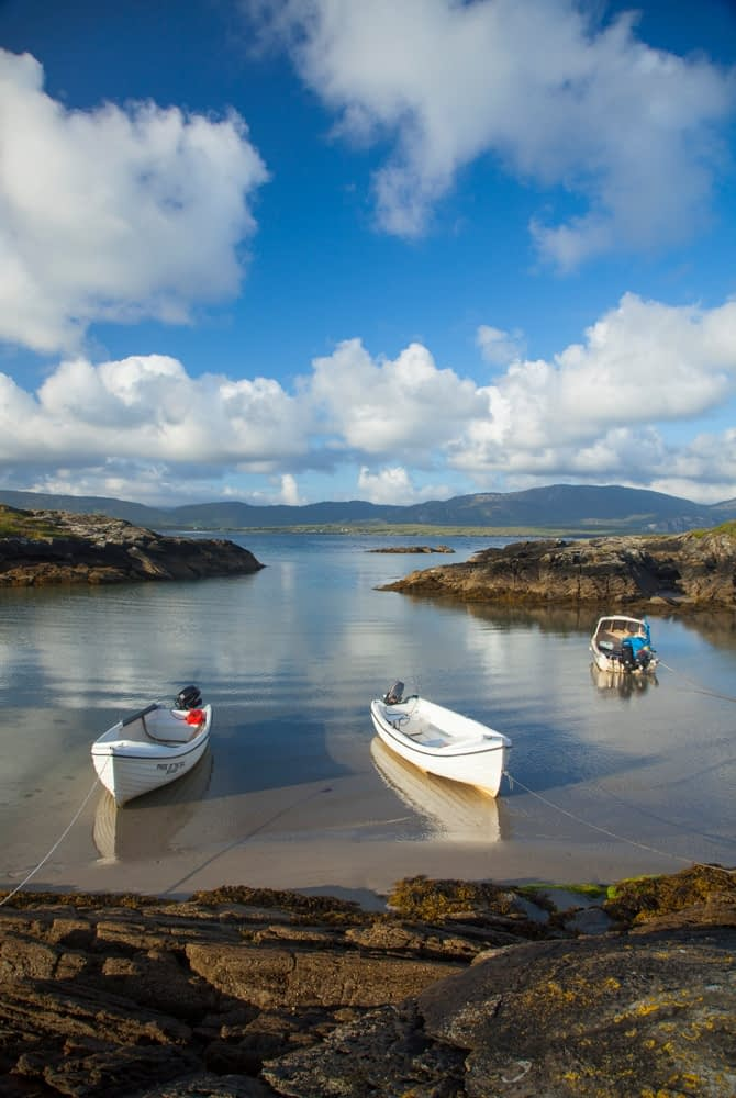 Fishing boats moored at Rosbeg, County Donegal, Ireland.