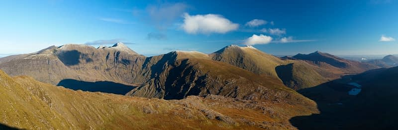 View of the Macgillycuddy's Reeks from Stumpa Duloigh, County Kerry, Ireland.