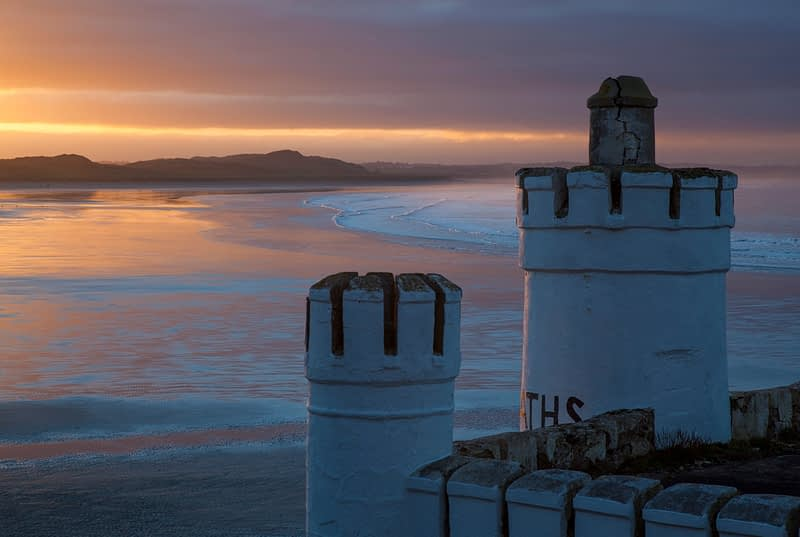 Sunset over the old cliff baths, Enniscrone, County Sligo, Ireland.