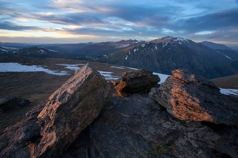 Evening light over Mount Chapin, Rocky Mountain National Park, Colorado, USA.
