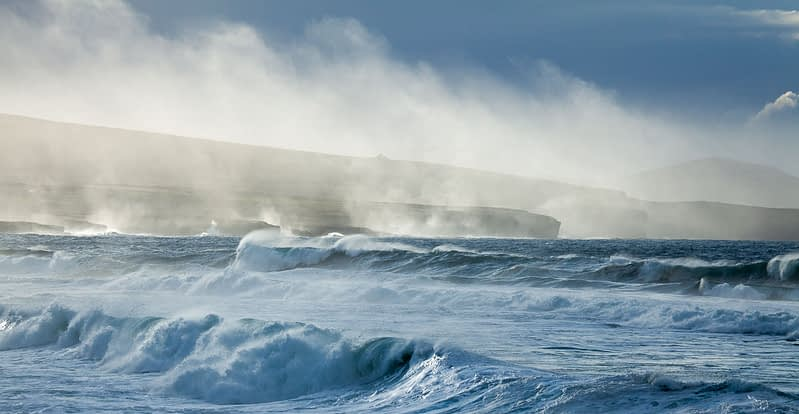 Storm waves beneath the Ceide Fields, County Mayo, Ireland.