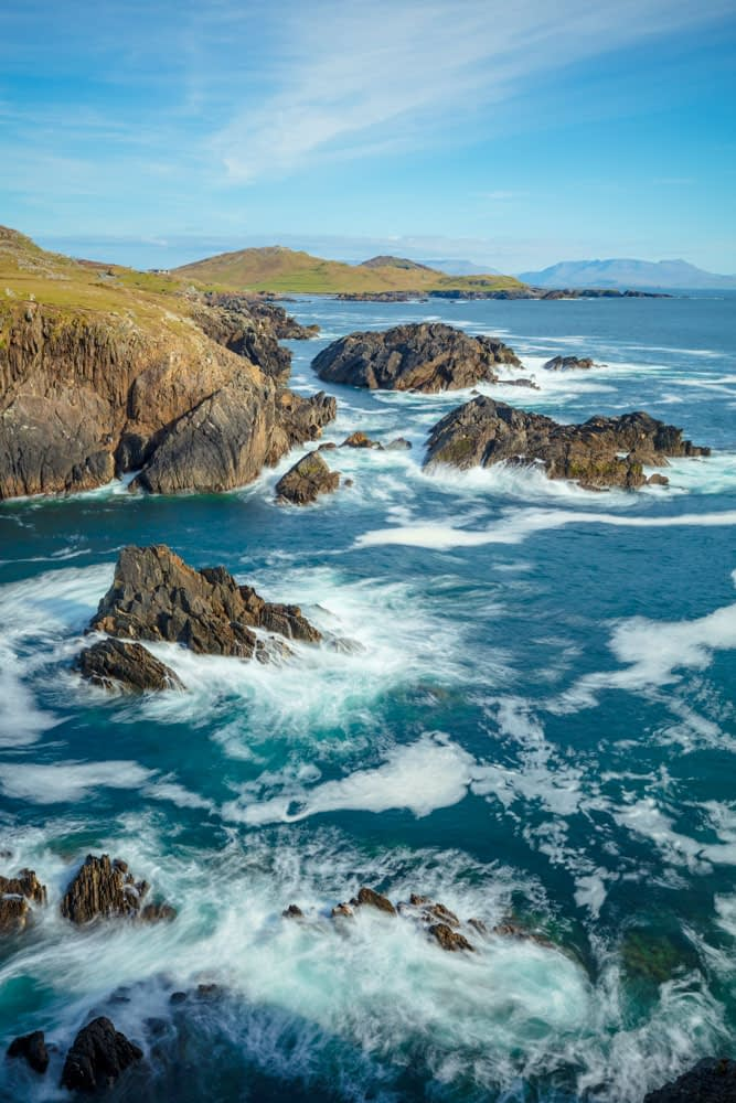 Rocky coastline along the Atlantic Drive, Achill Island, County Mayo, Ireland.