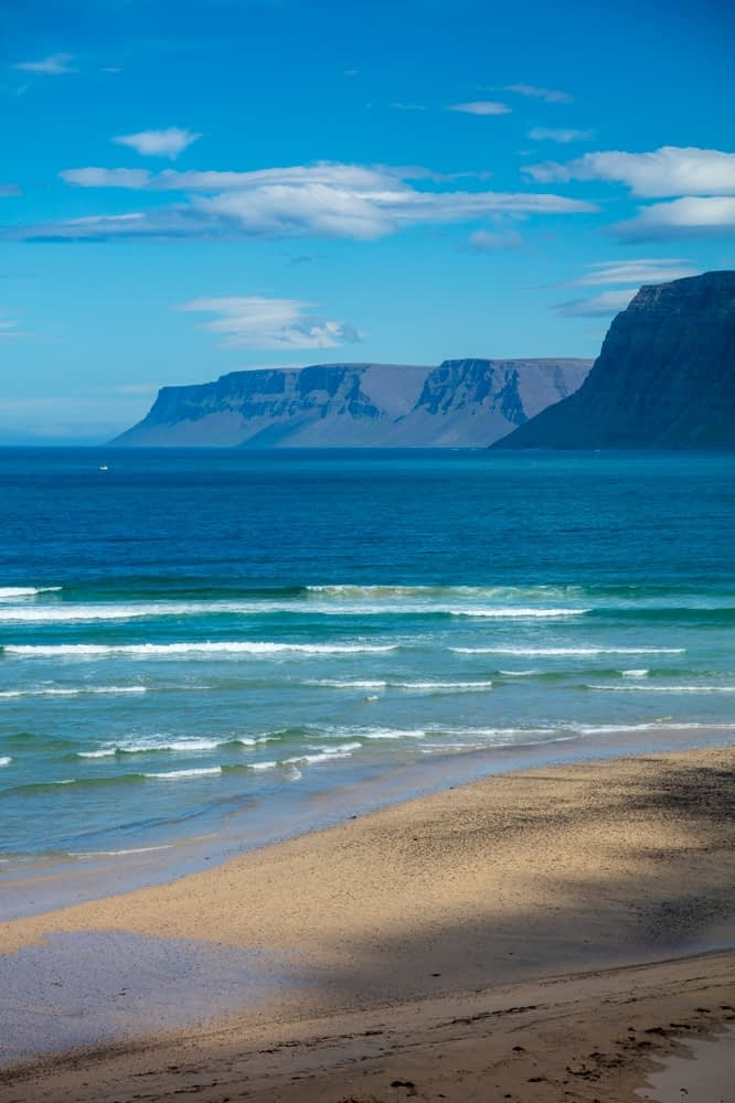 Golden sand beach near Efritunga, on the shore of Patreksfjordur. Latrabjarg Peninsula, Westfjords, Iceland.