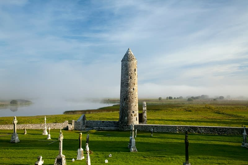 Morning mist over Temple Finghin and the River Shannon, Clonmacnoise, Co Offaly, Ireland.