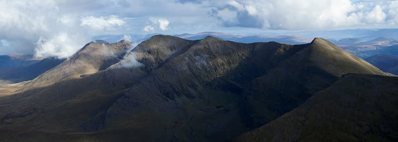 View across the eastern Reeks from Carrauntoohil, MacGillycuddy's Reeks, County Kerry, Ireland.