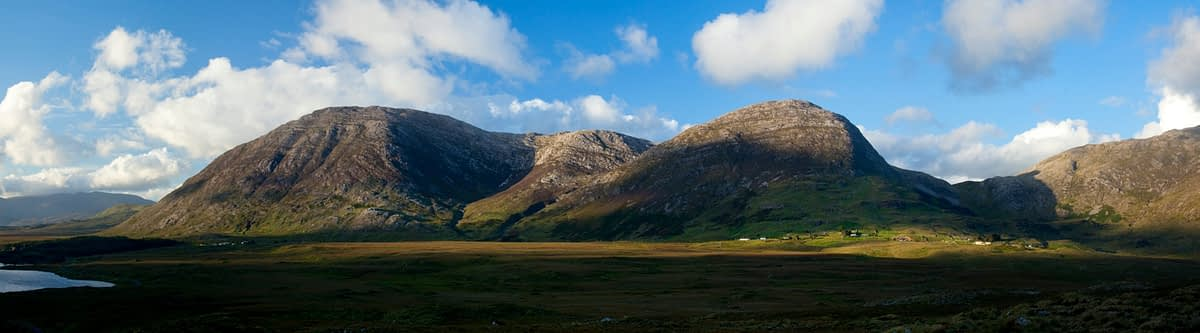 Evening panorama of the Maumturk Mountains, Connemara, Co Galway, Ireland.