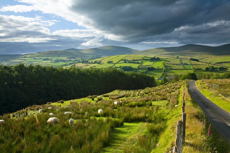 Country lane through the Glenelly Valley, Sperrin Mountains, Co Tyrone, Northern Ireland.