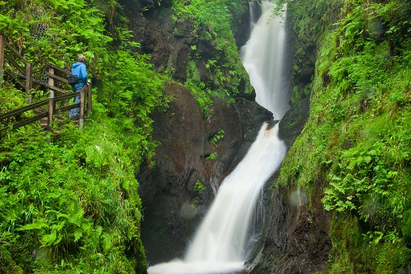 Ess-na-Larach waterfall, Glenariff Forest Park, Co Antrim, Northern Ireland.