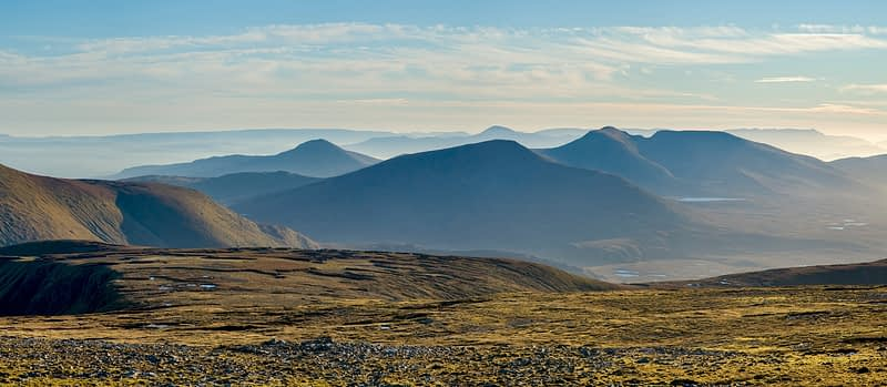 Panorama of the Nephin Beg Mountains from Slieve Carr, Co Mayo, Ireland.