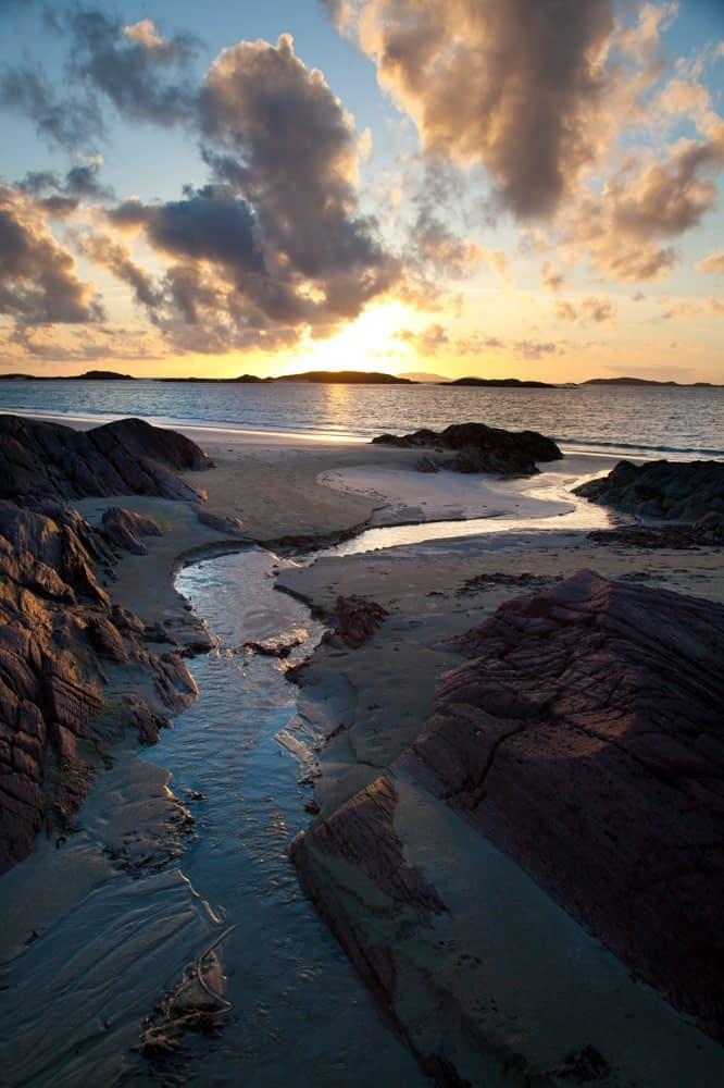 Sunset, Glassillaun Beach, Connemara, County Galway, Ireland.