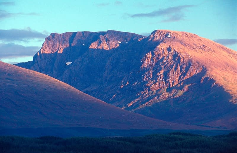 Profile of Ben Nevis, Lochaber, Scotland.