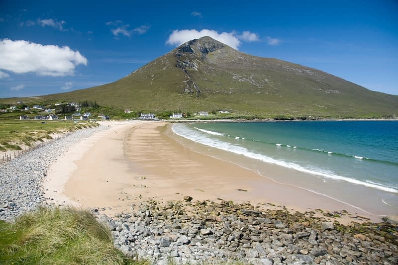 Doogort Strand and Slievemore, Achill Island, Co Mayo, Ireland.