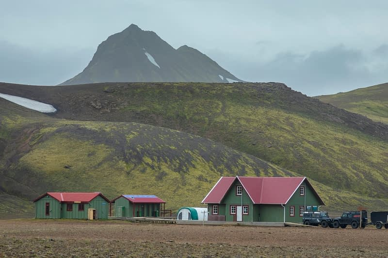 The FI mountain hut at Alftavatn, along the Laugavegur hiking trail. Central Highlands, Sudhurland, Iceland.