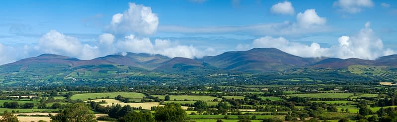 The Galtee Mountains from the south, County Tipperary, Ireland.