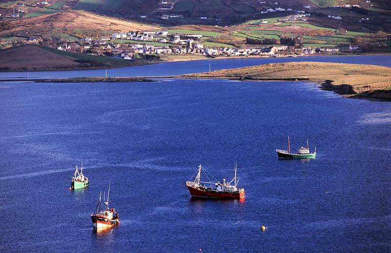 Fishing boats moored in Fannys Bay, Rosguill Peninsula, Co Donegal, Ireland.