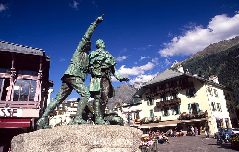 Statue of Balmat and Saussure, Chamonix town centre, French Alps, France.
