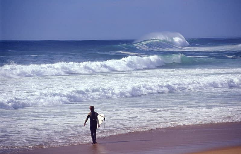 Surfer at Hossegor, south Atlantic coast, France.