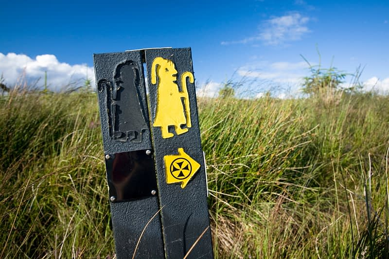 Waymarking post for Lough Derg Pilgrim Path, Co Donegal, Ireland.