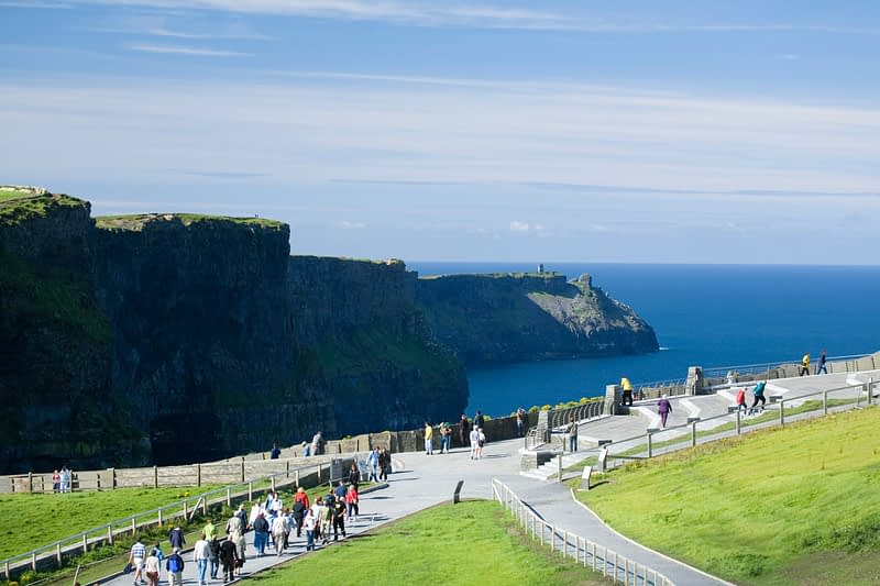 Visitors at the Cliffs of Moher, Co Clare, Ireland.