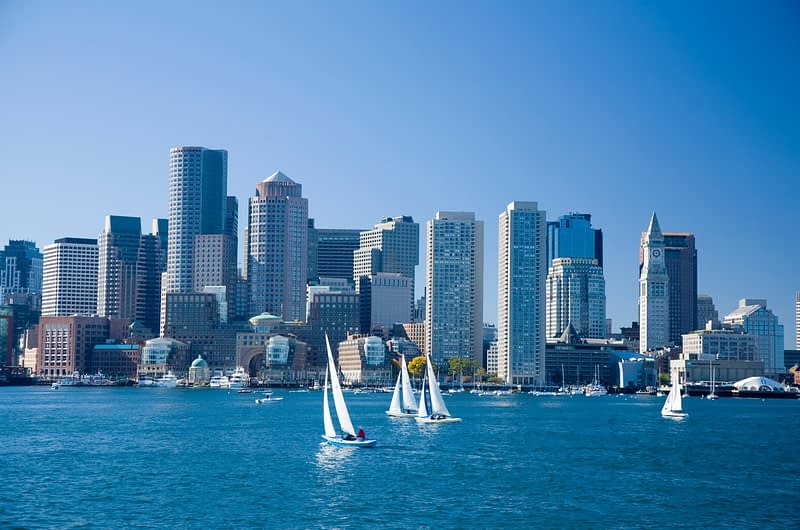 Downtown Boston from the harbour, Massachusetts, USA.