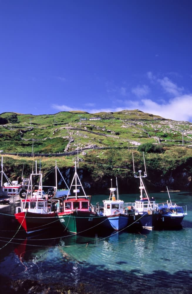 Fishing boats in Inishturk harbour, Inishturk Island, Co Mayo, Ireland.