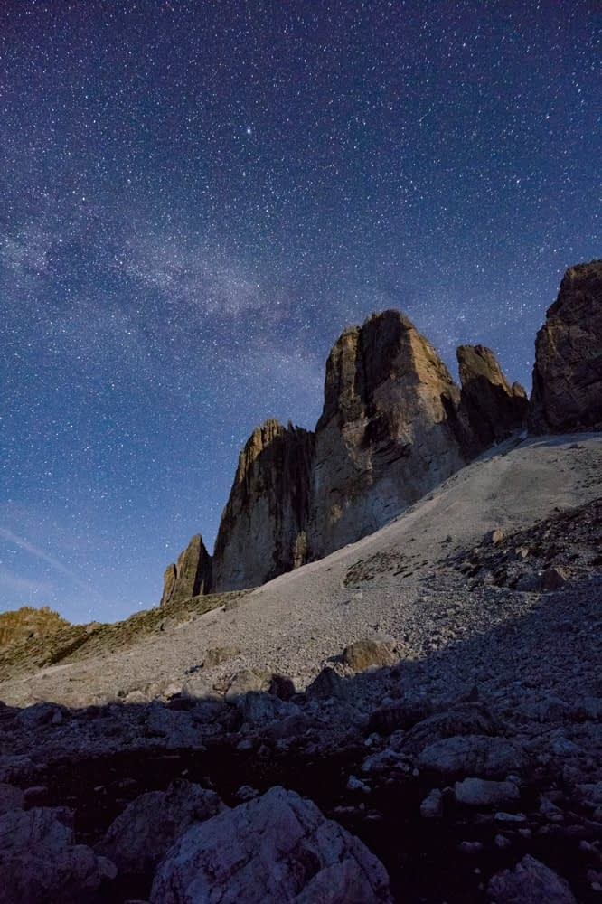 Night stars above Tre Cime di Lavaredo, Sexten Dolomites, South Tyrol, Italy.