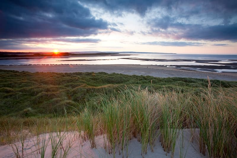 Sunset over the Moy estuary from Enniscrone dunes, Co Sligo, Ireland.