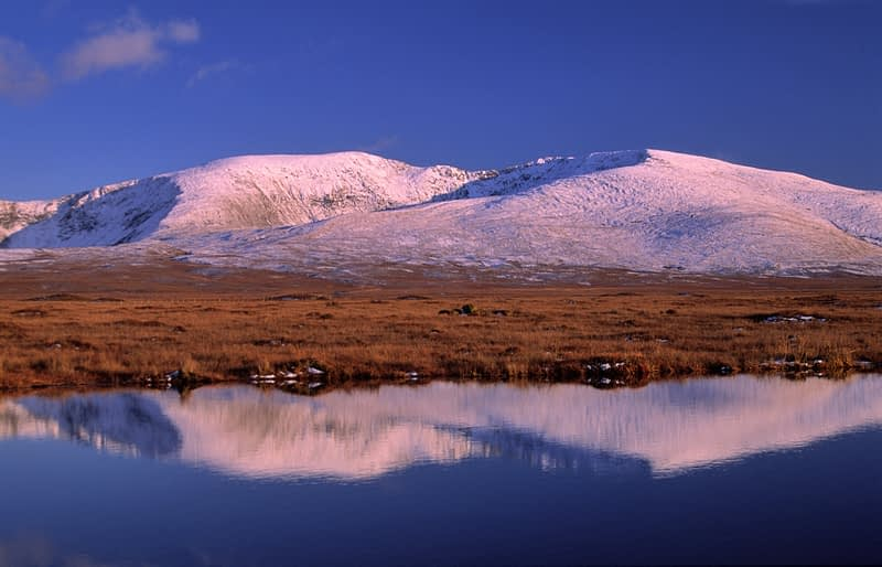 Winter reflections of the Nephin Beg Mountains at dawn, Co Mayo, Ireland.
