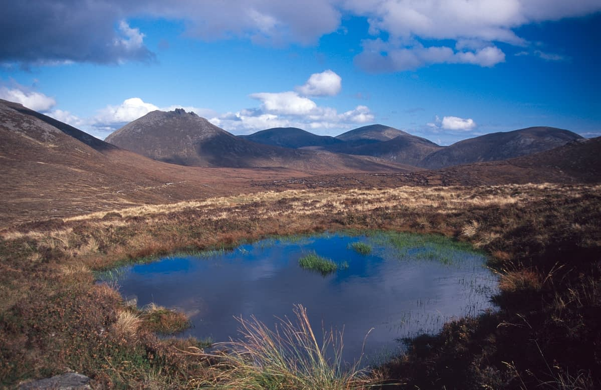 Pool on the slopes of Slieve Muck, Mourne Mountains, Co Down, Northern Ireland.