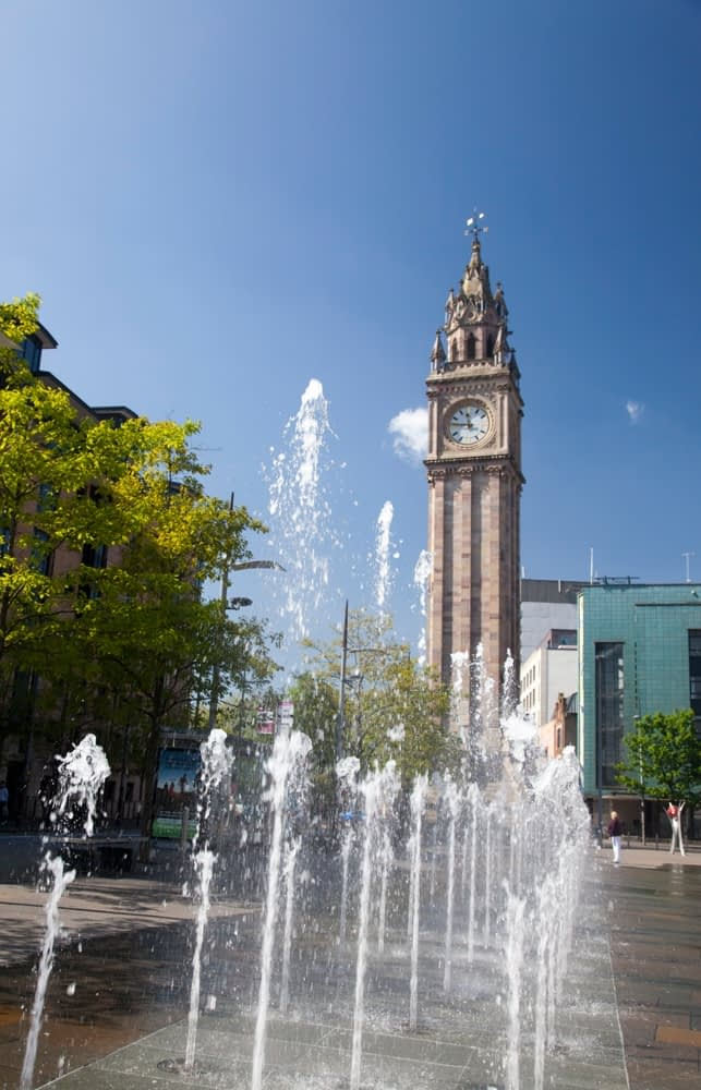 Fountain beneath the Albert Memorial Clock Tower, Belfast, Co Antrim, Northern Ireland.