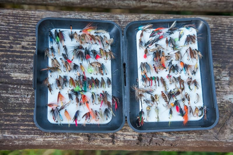 Box of flies for fly fishing, Ireland.