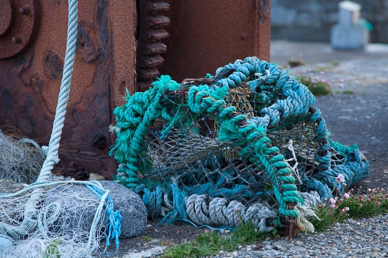 Fishing nets and lobster pot, Achill Island, Co Mayo, Ireland.