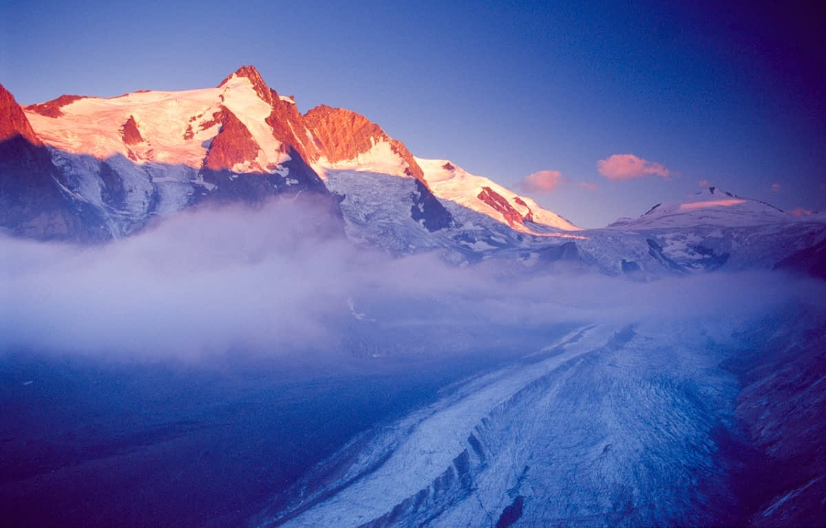 Dawn light over the Pasterze glacier and Grossglockner, Hohe Tauern National Park, Austria.