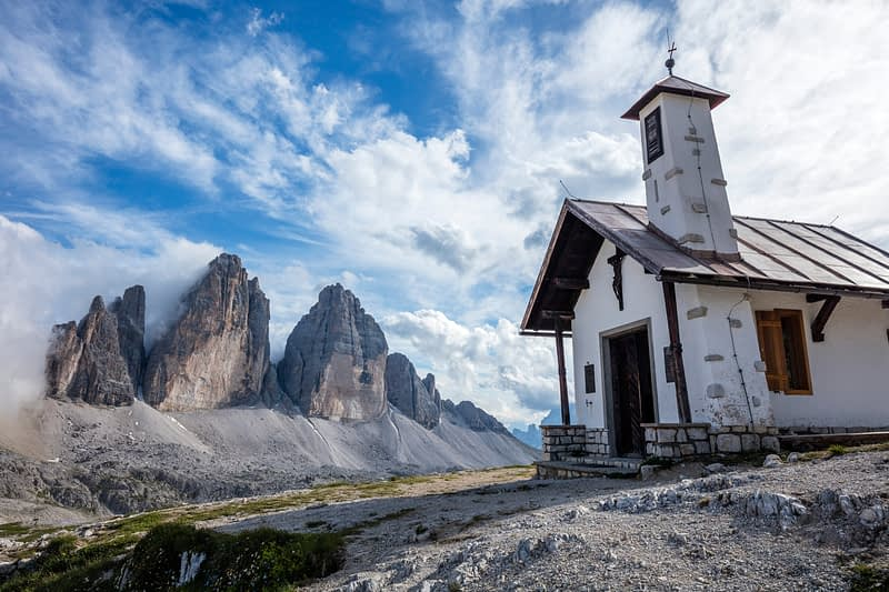 Rifugio Locatelli church, beside Tre Cime di Lavaredo, Sexten Dolomites, South Tyrol, Italy.