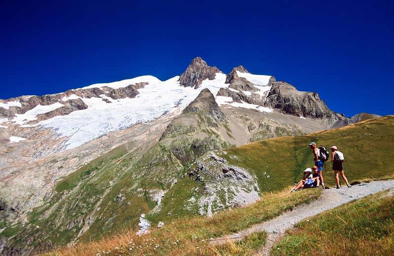 Walkers on the Tour of Mont Blanc below the Aiguille des Glaciers, French Alps, France.