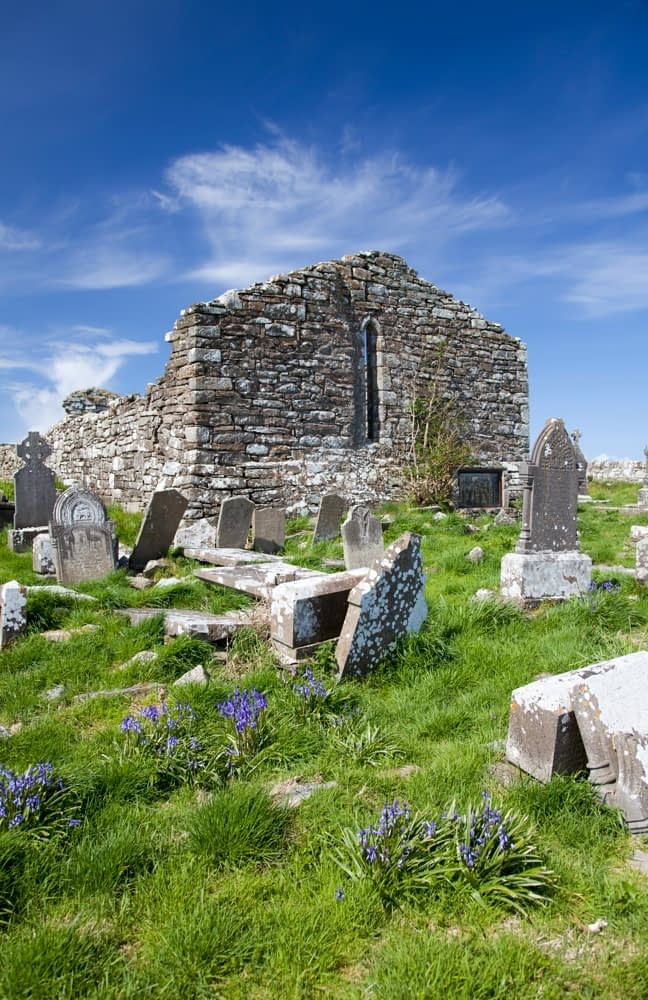 Old church and graveyard, Aughris, Co Sligo, Ireland.