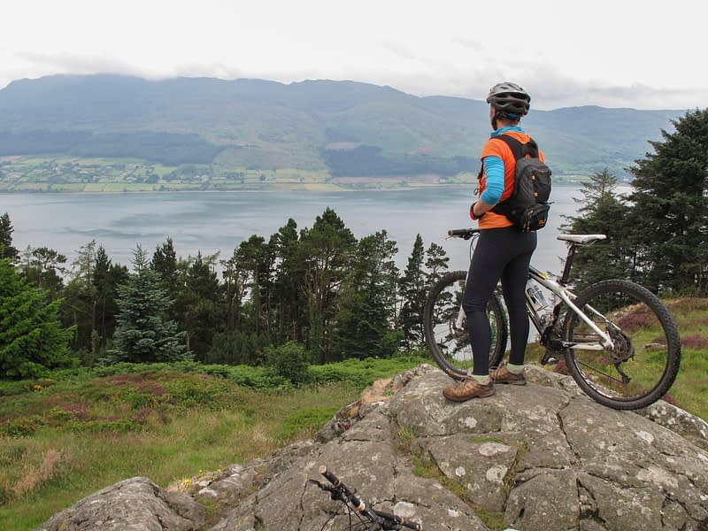 Mountain biker above Carlingford Lough, Rostrevor Forest Park, County Down, Northern Ireland.