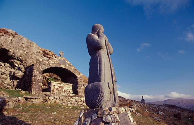 Statue of St Patrick at Maumeen, Maumturk Mountains, Connemara, County Galway, Ireland.