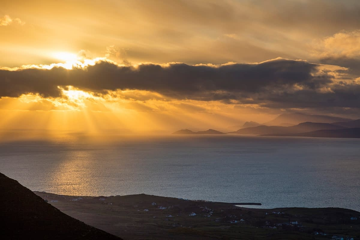 Clew Bay sunset from Croagh Patrick, County Mayo, Ireland.