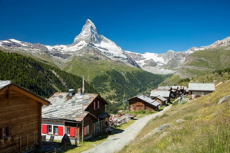 Findeln hamlet beneath the Matterhorn, Zermatt, Valais, Switzerland.