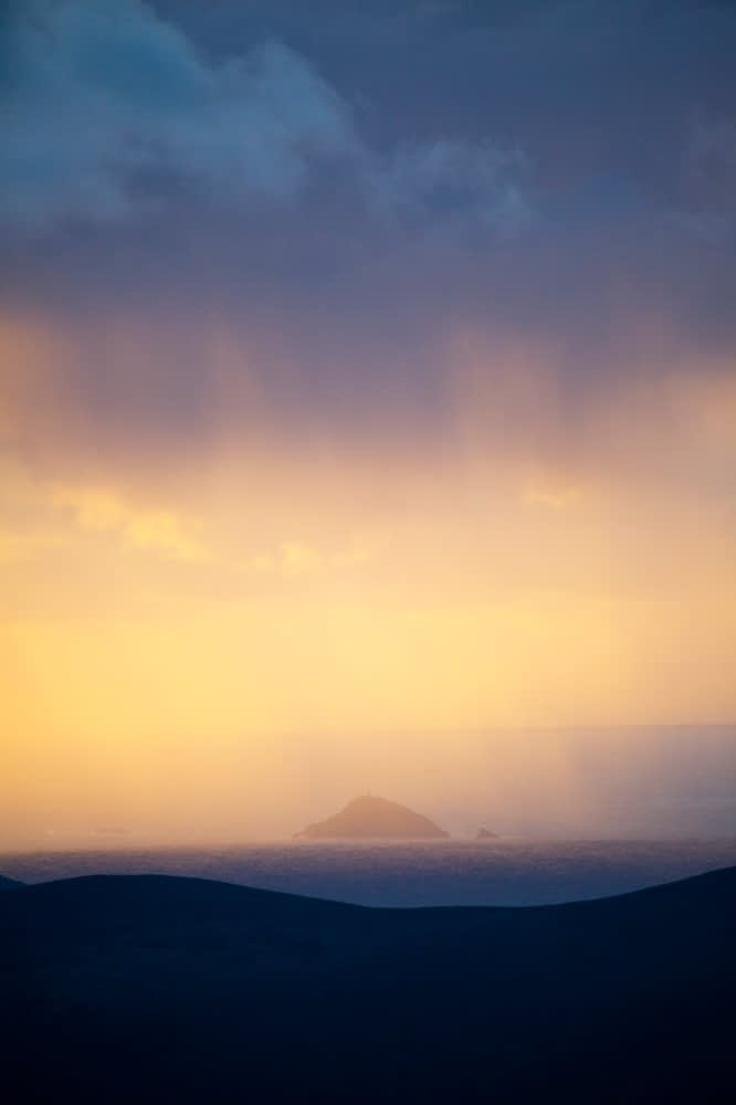 Evening rain shower off the coast of Achill Island, Co Mayo , Ireland.
