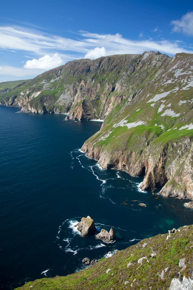 View across the Slieve League cliffs from Bunglas, County Donegal, Ireland.