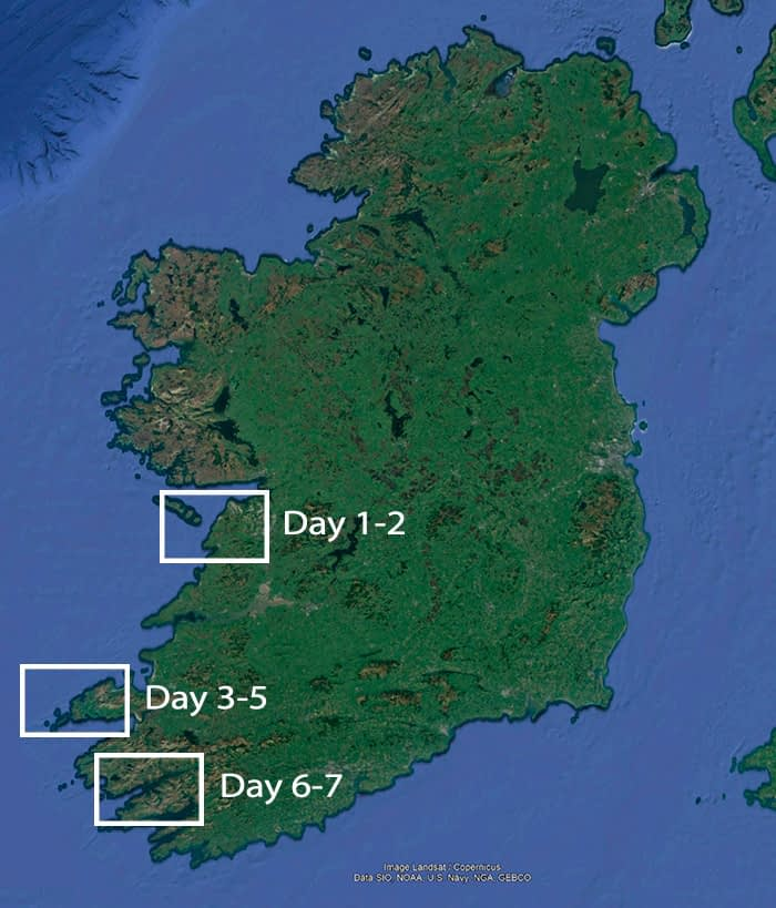South west Ireland photography tours map