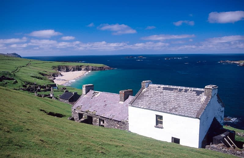 Cottages on Great Blasket Island, Co Kerry, Ireland.