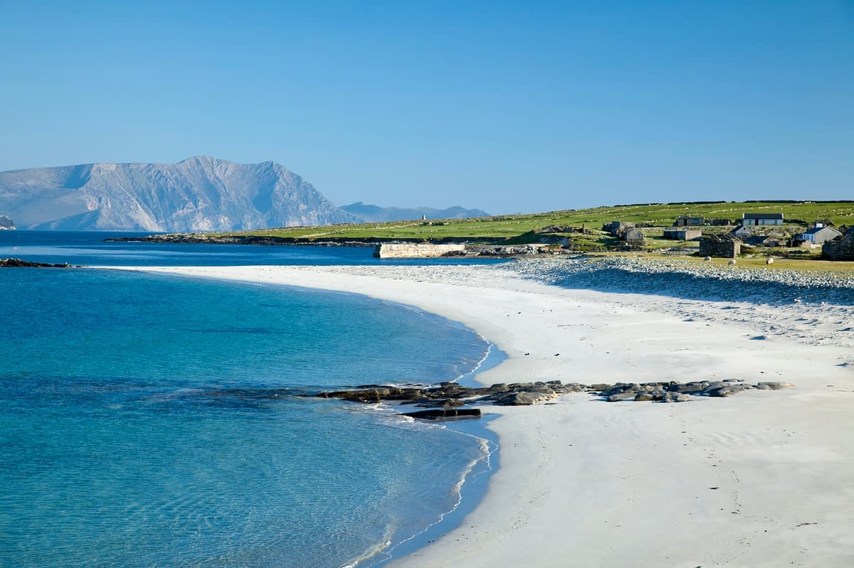 Pristine white sand beach on Inishkea South Island, County Mayo, Ireland.